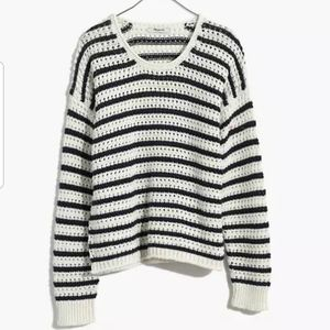 Madewell Striped Open-Stitch Austen Pullover Sweater, Large